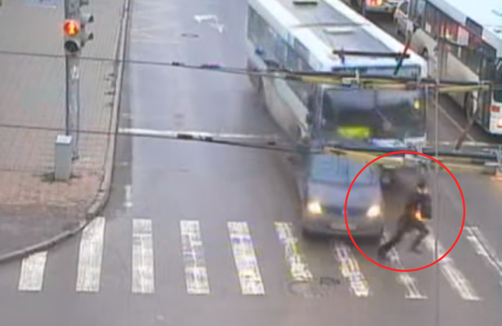 Pedestrian Barely Escapes Bus and Car Crash