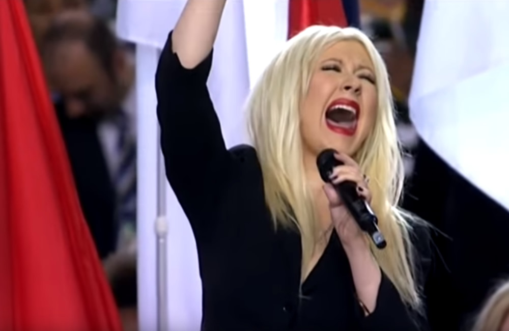 Christina Aguilera National Anthem flub
